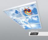 Opbouw fotoplafond foto aan plafond